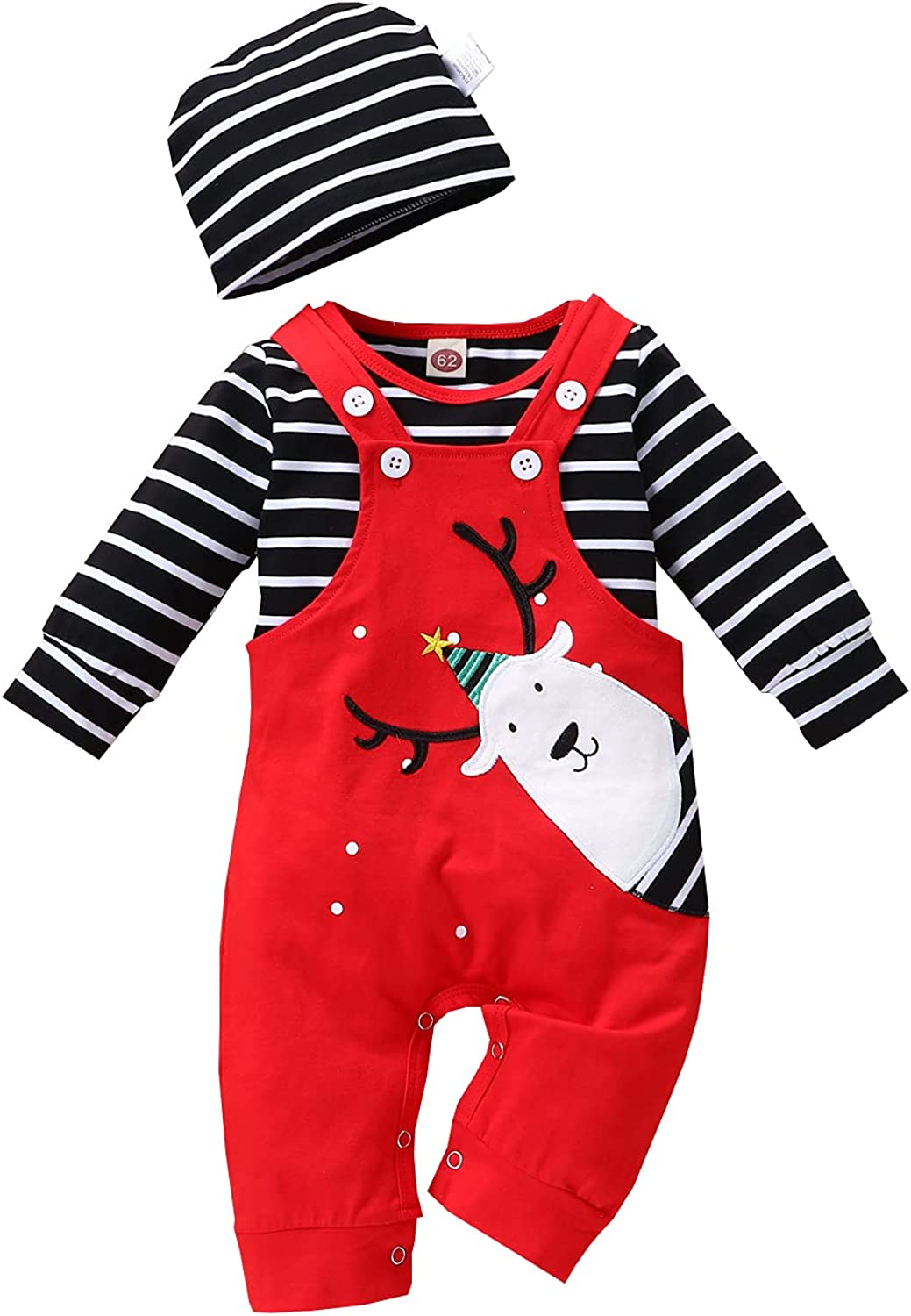 Baby Boys Girls Christmas Pant Set 3pcs Overalls Reindeer Suspender Pants Fall Winter Outfit Set Twins 1st Christmas
