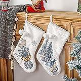 papasgix Calcetín de Papá Noel rellenable para colgar en la chimenea, pared, escaparate, árbol de Navidad, de peluche, con copos de nieve, para regalo de Candy