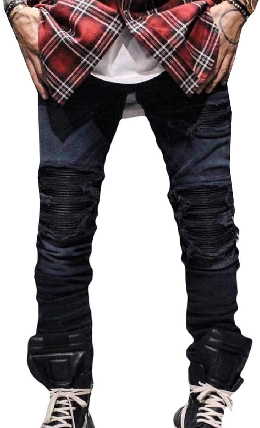 5a60c8ae8b4c5 Tootca Men Broken Hole Tapered Tapered Tapered Bomber Skinny Fashion  Trousers Hiphop Jeans dab824