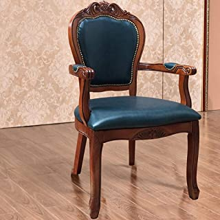 L-WSWS Silla de comedor Silla de cuero de estilo europeo-butaca lateral del hogar tallado simple montaje de heces 2 Paquete Azul for las sillas de la cocina del hogar (color: azul, tamaño: 52x50x106cm