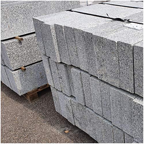 AUPROTEC Granit Bordstein Naturstein massiv 10 x 30 x 100 cm Leistenstein grau DIN EN 1343