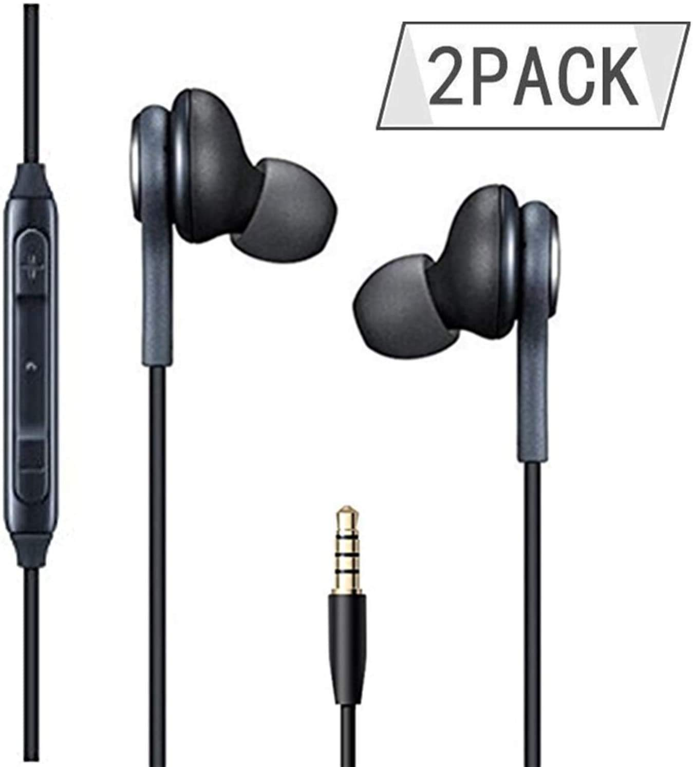 PopKoko Headphones/Earphones/Earbuds,3.5mm aux Wired Headphones Noise Isolating Earphones Built-in Microphone & Volume Control Compatible Galaxy iPhone iPod iPad Android/MP3 MP4 (2PACK)(Black)