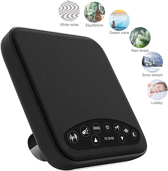 Premium Sleep Therapy Sound Machine 6 Soothing All Natural Sounds White Noise Fan Ocean Rain Stream And Summer Night Plus Auto Off Timer And USB Output Charger Black