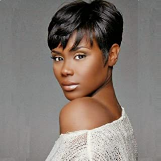 RUISENNA Human Hair Short Wigs Pixie Cut Wigs for Black Women Short Black Glueless Wigs for African American