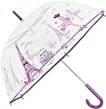 Paraguas Transparente Mujer Estampado Paris Morado - Paraguas Clásico de Burbuja Automatico Fantasia a la Moda - Cupula PoE Resistente Antiviento - 89 cm de Diámetro - Perletti Time