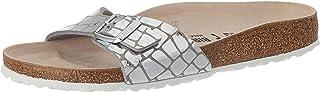 Birkenstock Mules Madrid Microfibre Gator Gleam Silver, Sandale Femme