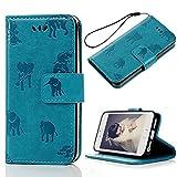 Mavis's Diary Druken PU Leather Flip Case for iPhone, iPhone 5/5S Cases Scratch magnet Phone Box Telephone Box Stand Phone Cover Case Elefant Blau HIntergrund