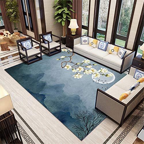 Xiaosua Garden Rugs Large blue Living room carpet oriental retro flower pattern soft carpet anti-slip Washable Rug 160X230CM Children Rugs 5ft 3''X7ft 6.6''