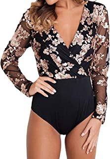 SUBWELL Women's See Through Sheer Mesh Long Sleeve Jumpsuit Clubwear Bodysuit Tops