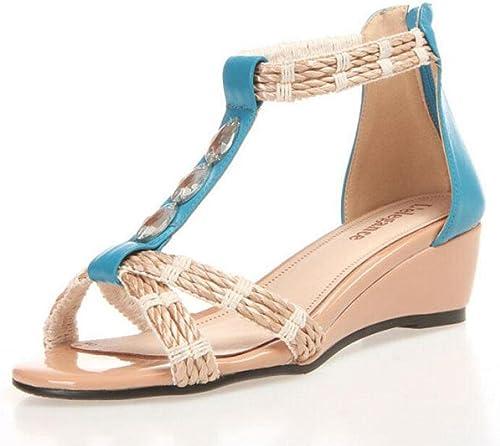GLTER Femmes Sandales à talons ouverts Chaussures Chaussures en cuir d'eau de pelouse Sandales nationales de vent à talon moyen  magasin d'offre