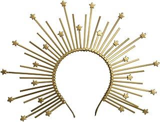 Halo Crown with Star Sunburst Crown Bridal Crown Met Gala Crown Zip Tie Headband