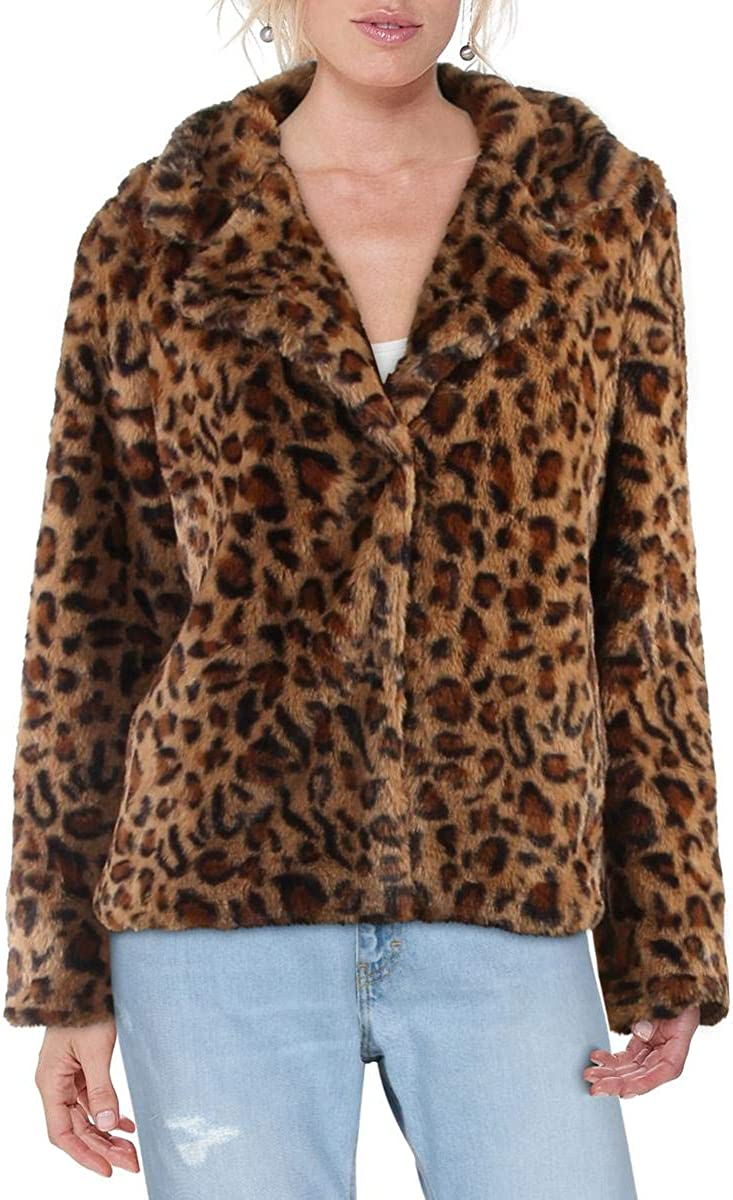 WDNY Womens Cold Weather Animal Print Faux Fur Jacket