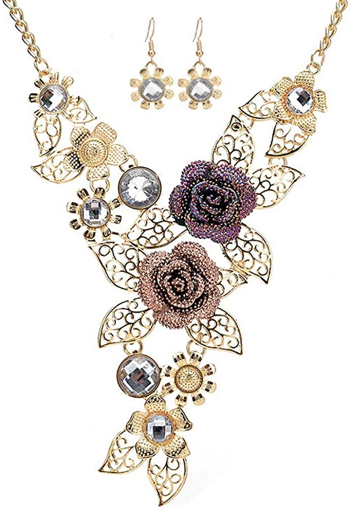 YAZILIND Exaggerated Flower Necklace Earrings Vintage Necklace Alloy Rhinestone Jewellery Set Women Party Dangle Earring Gift