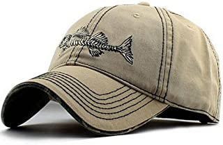 Mens Ball Hats Baseball Cap Logo Fish Bones Fishing Dad Hat