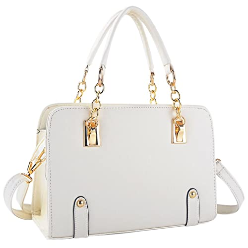 31ec4fb15c Coofit New Fashion Women s PU Leather Padlock Tote Handbag Ladies Shoulder  Bag (Cream)