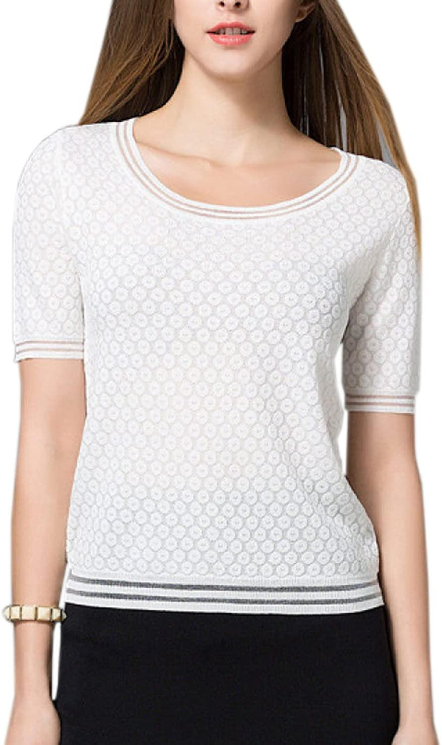 Lady Fashion Relaxed Simple Breathable Slim Knitted Soft Shirt Tops Blouse,WhiteM