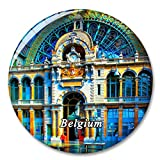 Bélgica Estación de Tren de Amberes Imán de Nevera, imánes Decorativo, abridor de Botellas, Ciudad turística, Viaje, colección de Recuerdos, Regalo, Pegatina Fuerte para Nevera