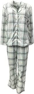 Womens Ivory Purple & Gray Plaid Fleece Pajamas PJs Sleep Set