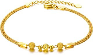 Solid 18k Gold Bead Bracelets for Women, Real Gold Chain Bracelet Fine Jewelry for Her, 6.5
