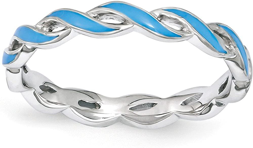 2mm おすすめ特集 Sterling Silver Stackable Expressions Swirl Blue Enamel Band 格安SALEスタート