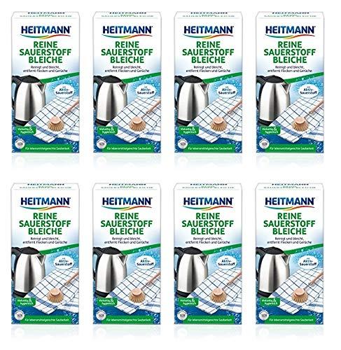 Heitmann Reine Sauerstoff-Bleiche: für Sauberkeit im Haushalt, hohe Waschkraft mit Soda und Sauerstoff, bleicht und entfernt zuverlässig Flecken von Oberflächen und aus Textilien, 8 x 375g