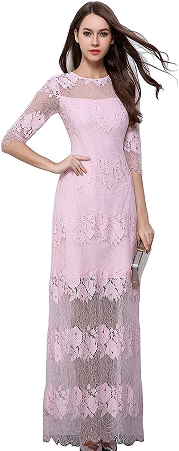 Honeydress Women's Vintage Hollow Floral Lace Sheer 1 2 Sleeve Long Party Dress