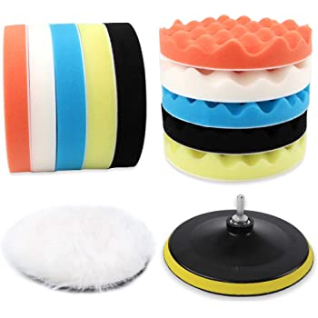 Coceca 12pcs 7 Inches Buffing Sponge Pads, Car Foam Polishing Pads kit Including 10 Sponge Pads and 1 Woolen Buffer with 1 Drill Adapter for Waxing and Sealing Glaze