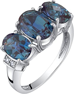 14K White Gold Diamond and Genuine or Created Gemstones Three Stone Triune Ring Sizes 5 to 9