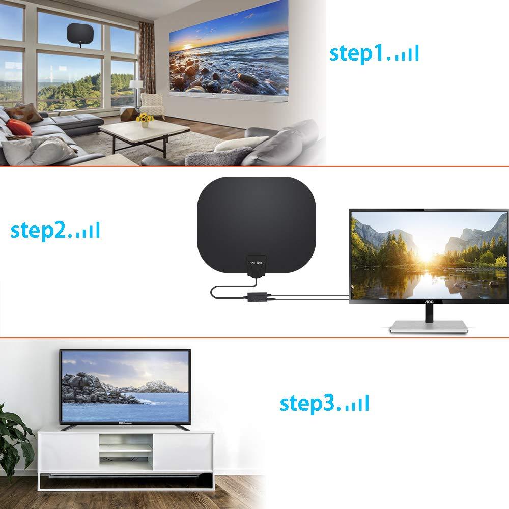 TS-ant Antena de TV Interior, Oval Negro Antena de TV Digital para Interiores de Alcance de 180KM con Amplificador Inteligente de Señal, Adecuada para Canales de TV Gratis 1080P 4K,Cable Coaxial de