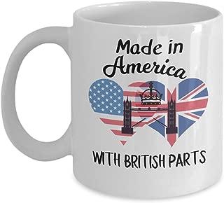 Made in USA with Bristish Parts Half American Half British mug