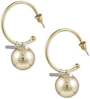 Karatcart Metal GoldPlated Ball Drop Half Hoop Earrings for Women