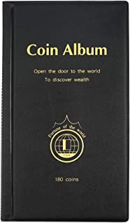 AITIME 180 Pockets Coin Collection Supplies - Coin Collecting Holders Book Album for Collectors, Collector Album Storage Suitable for Coin Diameter Less Than 1.66 Inches (Black)