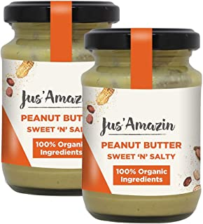 Jus Amazin Creamy Organic Peanut Butter – Sweet n Salty (125g X 2) | 26% Protein | Plant-Based Nutrition | Zero Chemicals ...