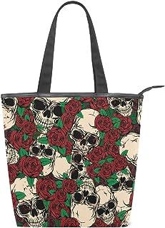 Mnsruu Große Canvas-Handtasche für den Strand, Reisen, Einkaufen, Schultertasche, abstrakte Totenköpfe und Rosen, Sommerurlaub, Handtasche für Frauen und Mädchen