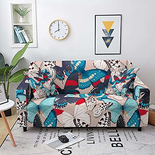 WXQY Sala de Estar Mariposa Funda de sofá Funda elástica combinación combinación elástica Funda de sofá Funda de sillón Funda de sofá A2 3 plazas