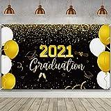 Bandera de Fiesta de 2021 Graduation, Telón de Fondo Bandera Extra Grande de Señal de 2021 Oro Negro de Graduación de Felicitaciones Foto Prop para Decoración Fiesta, 72,8 x 43,3 Pulgadas