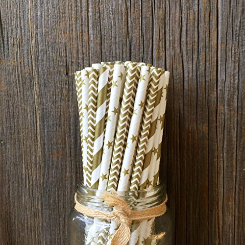 Charmed Gold Star, Chevron, Stripe Paper Straws