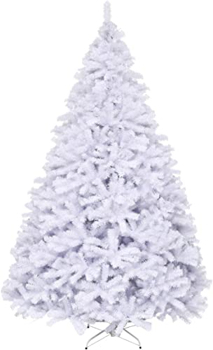 high quality Goplus White Artificial Christmas Tree, 7.5ft Premium Unlit Hinged outlet sale Spruce Full Tree, with Metal Stand, Easy Assembly, for lowest Indoor and Outdoor Use online sale