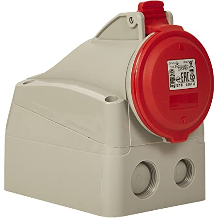 Legrand 555159 Prise saillie fixe P17 IP44 16A, 380V~ à 415V~, 3P+N+T