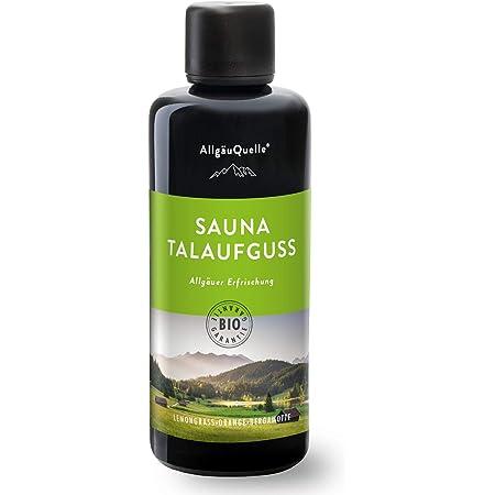 AllgäuQuelle Saunaaufguss mit 100% BIO-Öle Erfrischung Lemongrass Orange Bergamotte (100ml). Natürlicher Sauna-aufguss m. ätherische Sauna-Öle im Aufguss-Mittel. Saunaöl natrurrein und biologisch.