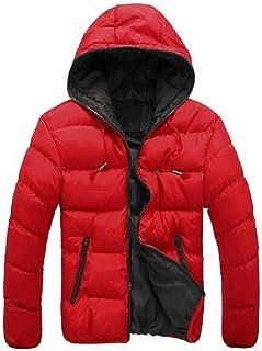 FSSE Men's Quilted Jacket Hooded Winter Contrast Down Puffer Jacket Coat Outwear
