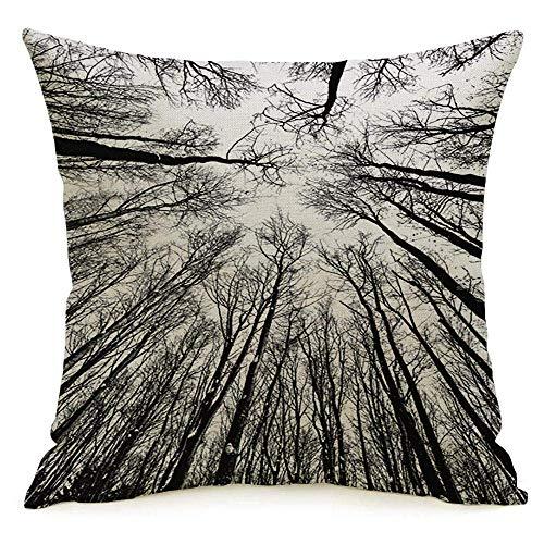 Funda de almohada cuadrada de lino decorativo Triste estacional Línea negra Aislamiento Depresión Rama blanca Naturaleza Árboles altos Troncos Diseño Arriba Funda de almohada Cojín Funda para sofá