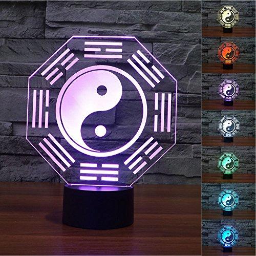 3D Illusion Ocho Diagramas Lámpara luces de la noche ajustable 7 colores LED Creative Interruptor táctil estéreo visual atmósfera mesa regalo para Navidad