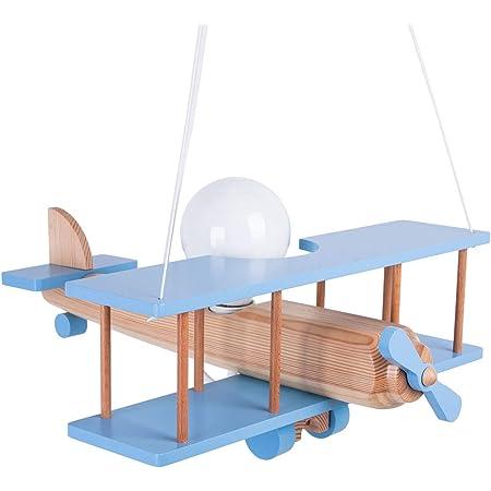ItalPol Produkt magnifique un lustre en bois en forme d'avion de 45cm x 42cm pour une chambre d'enfant et pas seulement.