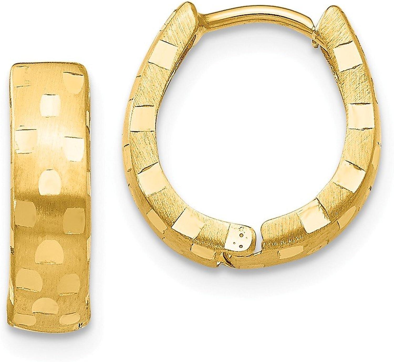 Beautiful Yellow gold 14K Yellowgold 14K Diamond Cut 4mm Patterned Hinged Hoop Earrings