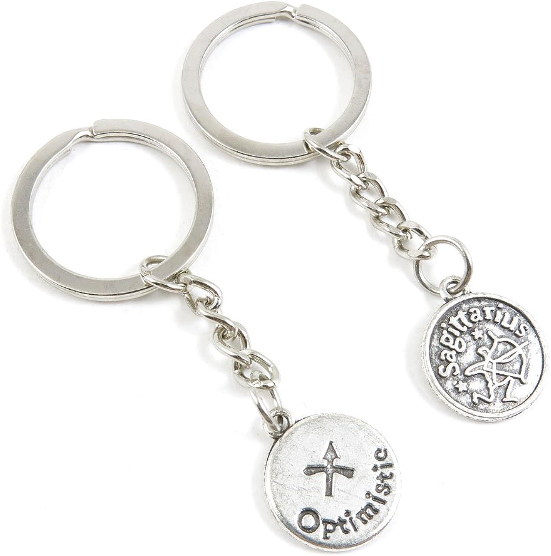 100 Pieces Keychain Keyring Door Car Key Chain Ring Tag Charms Bulk Supply Jewelry Making Clasp Findings B1UX7U Sagittarius