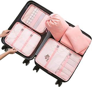 Bolsas de Viaje 6 En 1, IFORU Organizador de Equipaje Viaje (3 Bolsa de Malla + Lavandería Bolsa + Toiletry Bolsa + Bolsa de Zapato)Travel Organizer 6 Cube Organizer Ideal para Organizar Maletas de Mano(Rosa, Grande)