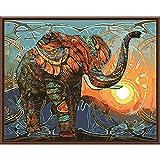 Pintura por números,Elefante animal al atardecer creativo Decoración del hogar del artista de la pintura al óleo de la lona preimpresa de bricolaje Inicio 40x50cm (Rainbow Pony).