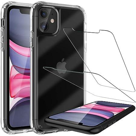 LK Coque Renforcés Compatible avec iPhone 11, 2 × Verre Trempé Protection écran, Crystal Shock-Absorption Housse, HD Transparent Bumper Protection intégrale Case Cover iPhone 11- Clair