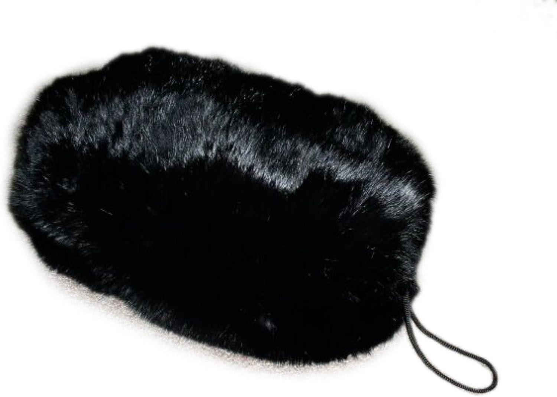 Black Spanish Rabbit Fur Hand Muff & Clutch Bag w Leather Shoulder BeltLarge Size